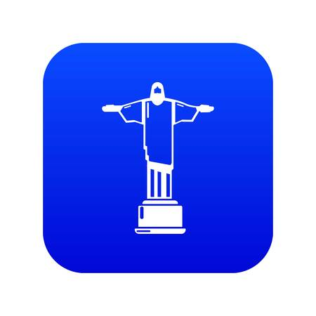 Cristo redentor icon blue vector isolated on white background
