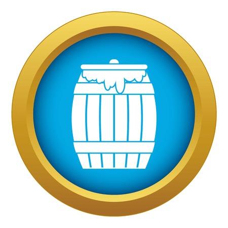 Honey keg icon blue vector isolated