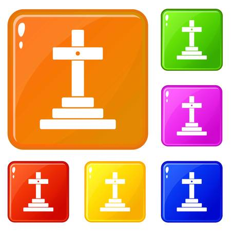 Grave icons set vector color