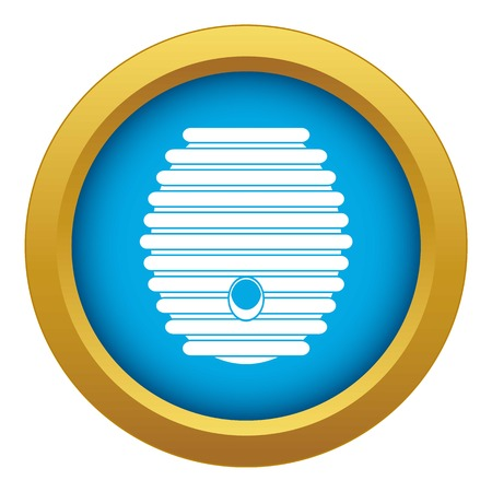 Beehive icon blue vector isolated on white background for any design