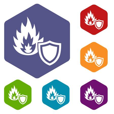 Fire protection icons vector colorful hexahedron set collection isolated on white Illustration