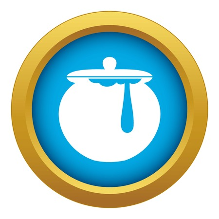 Honey pot icon blue vector isolated Illustration