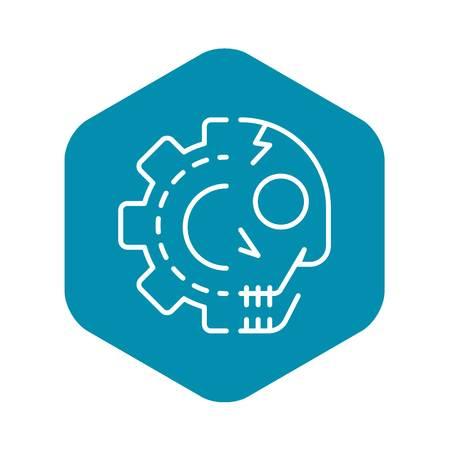 Gear skull icon. Outline gear skull vector icon for web design isolated on white background Archivio Fotografico - 130243056