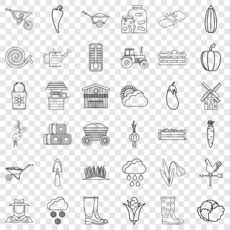Weather icons set. Outline style of 36 weather vector icons for web for any design