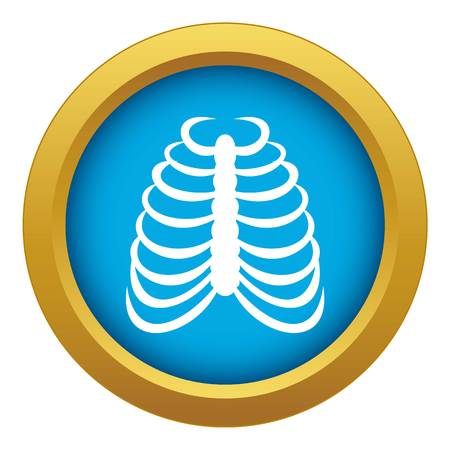 Rib cage icon blue vector isolated on white background for any design