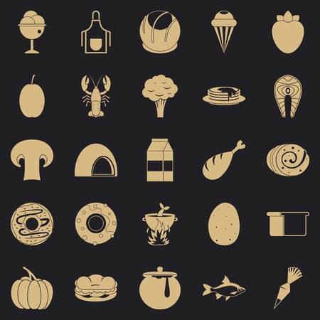 Favorite food icons set. Simple set of 25 favorite food vector icons for web for any design Illustration
