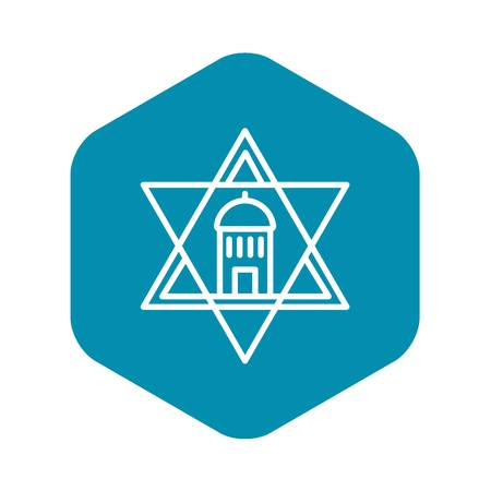 Jewish temple star icon. Outline jewish temple star vector icon for web design isolated on white background