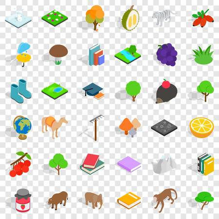 Animal icons set. Isometric style of 36 animal vector icons for web for any design