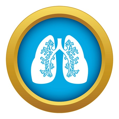 Lungs icon blue vector isolated on white background for any design Illustration