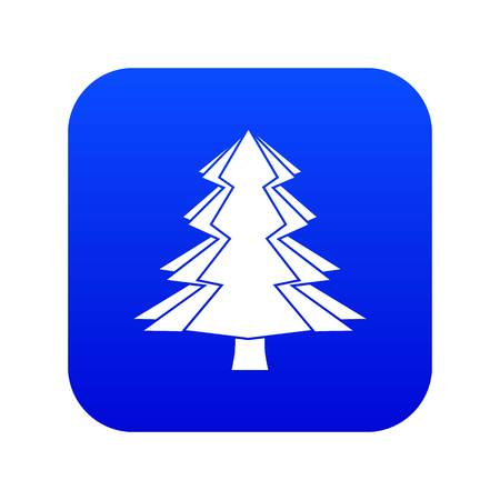 Fir tree icon digital blue for any design isolated on white vector illustration