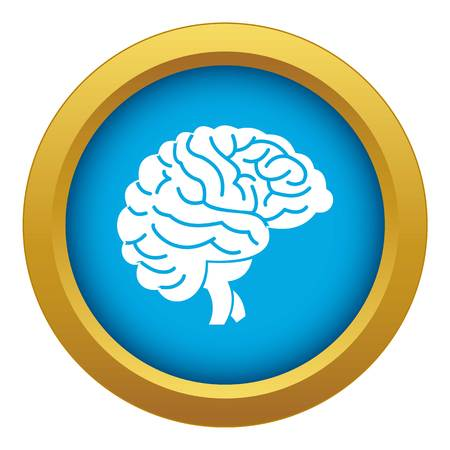 Brain icon blue vector isolated on white background for any design Illustration