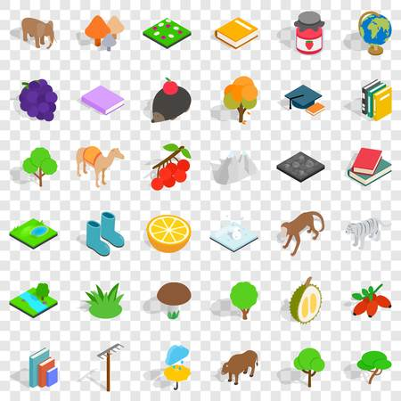 Bird icons set. Isometric style of 36 bird vector icons for web for any design