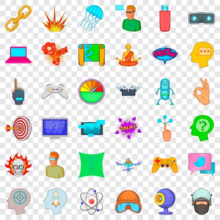 Network icons set. Cartoon style of 36 network vector icons for web for any design