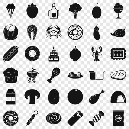 Favorite food icons set, simle style