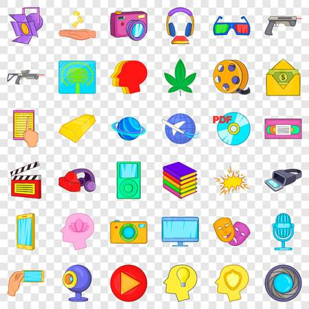 Connect icons set, cartoon style