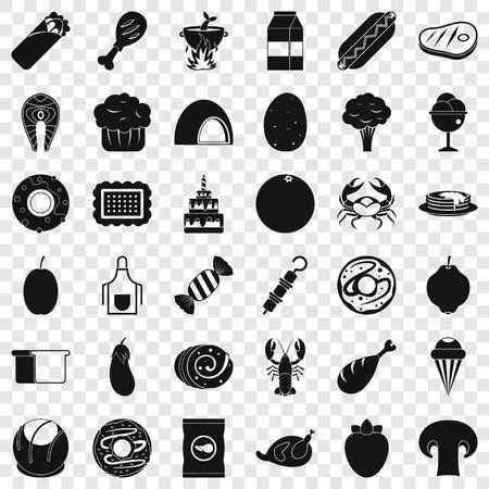 Autumn food icons set, simle style