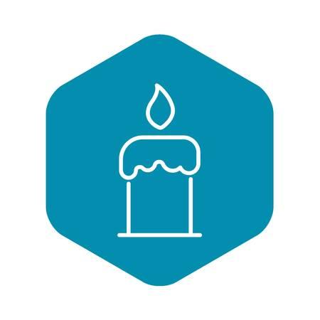 Burning candle icon. Outline burning candle vector icon for web design isolated on white background Ilustração