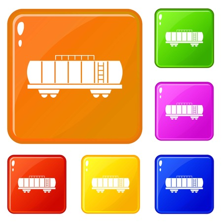 Oil railway tank icons set vector color