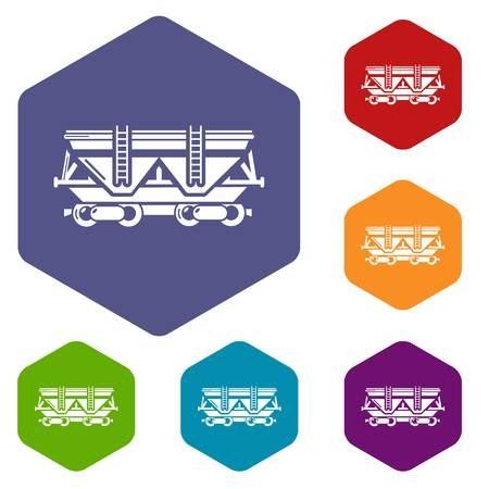 Wagon icons vector hexahedron