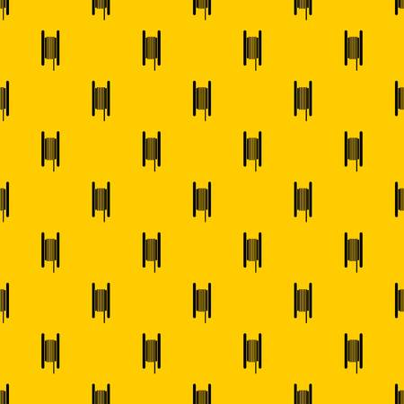 Electric cable in coil pattern seamless vector repeat geometric yellow for any design