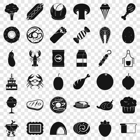 Candy icons set, simle style Illustration