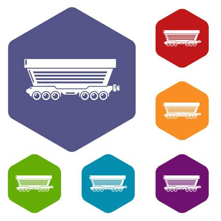 Freight car icons vector hexahedron Illustration