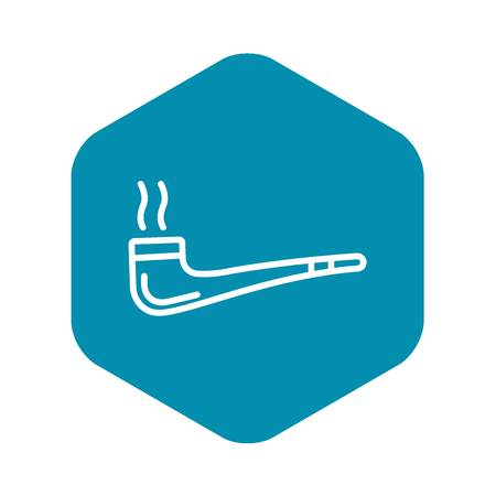 Smoking pipe icon. Outline smoking pipe vector icon for web design isolated on white background
