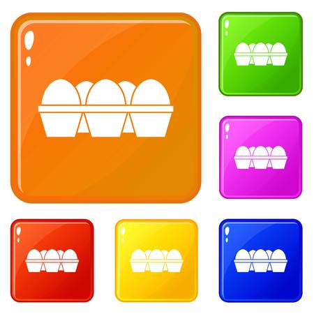 Eggs in carton package icons set vector color