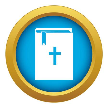Bible icon blue vector isolated