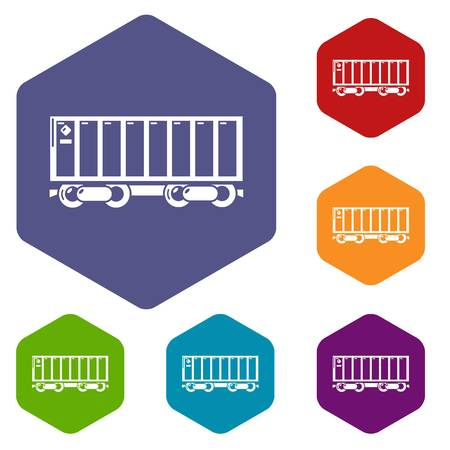 Freight train icons vector hexahedron