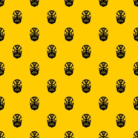 Tribal mask pattern seamless vector repeat geometric yellow for any design