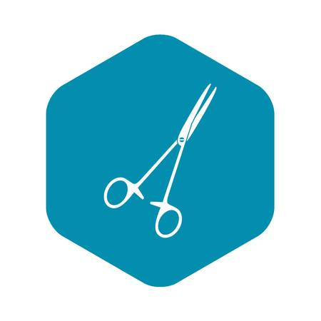 Medical clamp scissors icon. Simple illustration of medical clamp scissors vector icon for web Illustration