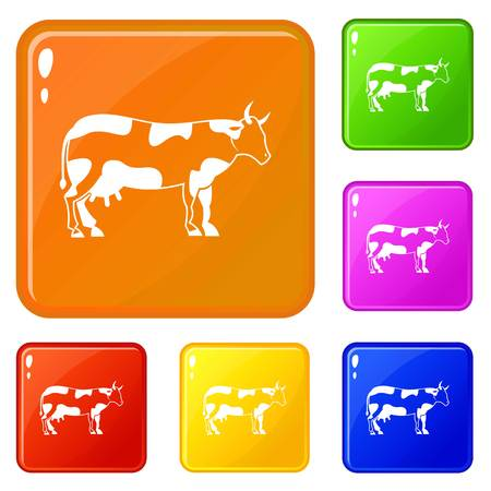 Cow icons set vector color