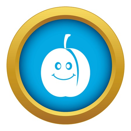 Fresh smiling apricot icon blue vector isolated on white background for any design 矢量图像