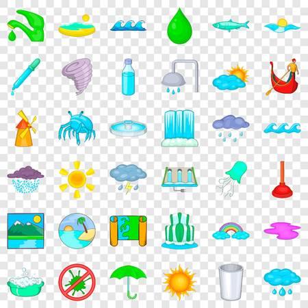 Bottle icons set, cartoon style Ilustrace