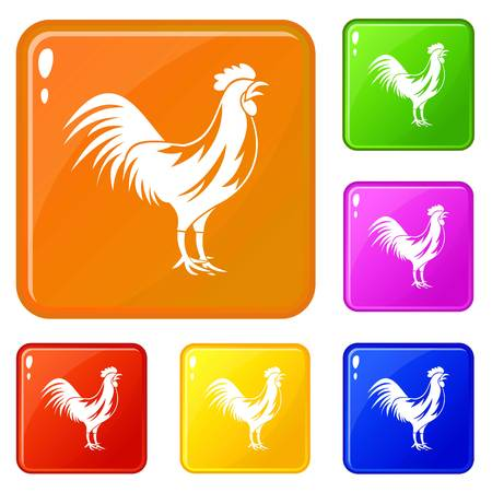 Gallic rooster icons set vector color Illustration