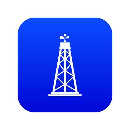 Oil rig icon digital blue