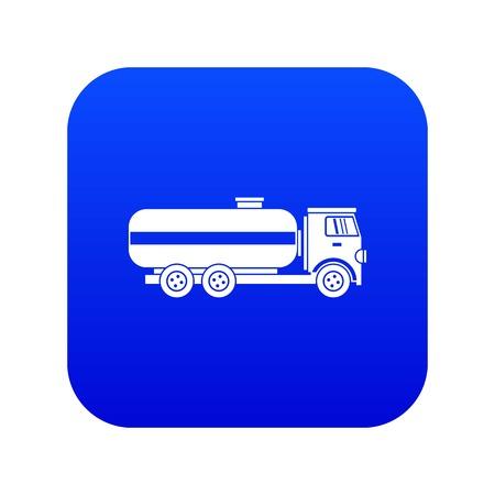 Fuel tanker truck icon digital blue
