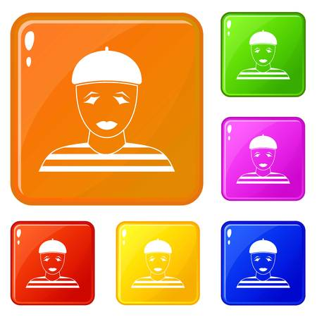 Clown icons set vector color Illustration
