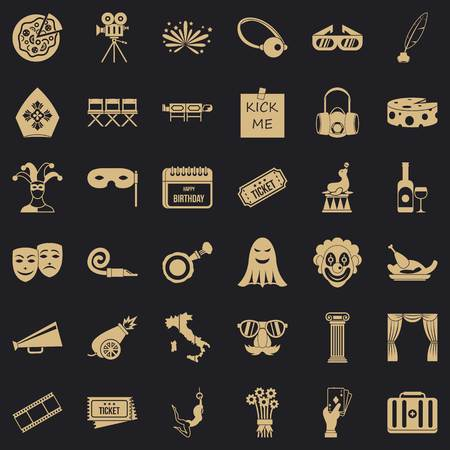 Setting icons set, simple style Illustration