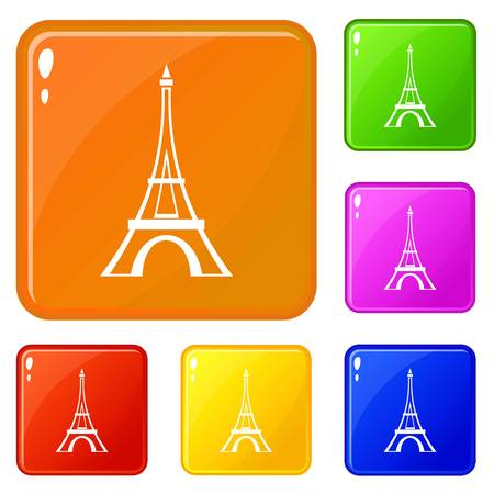 Eiffel tower icons set vector color