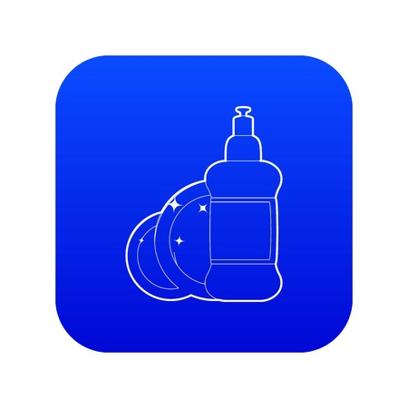 Dischwashing liquid icon blue vector isolated on white background