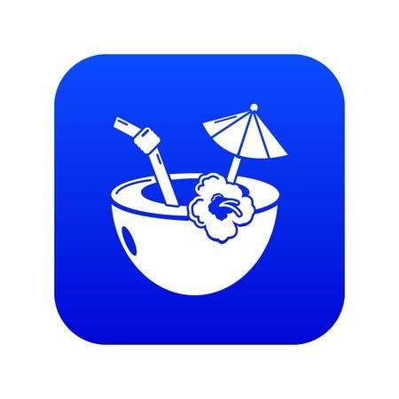 Coconut cocktail icon blue vector isolated on white background Ilustração