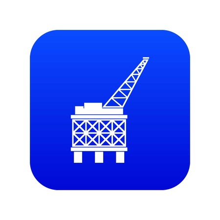 Oil platform icon digital blue