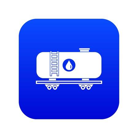 Oil railway tank icon digital blue