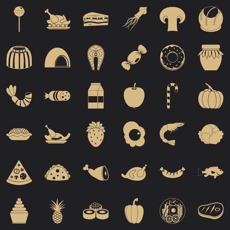 Semolina icons set, simple style