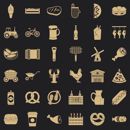 Gourmet food icons set. Simple set of 36 gourmet food vector icons for web for any design