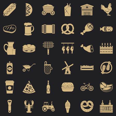 Delicious meal icons set. Simple set of 36 delicious meal vector icons for web for any design