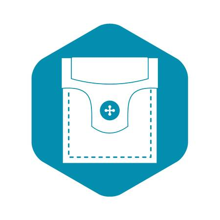 Valve pocket with button icon. Simple illustration of valve pocket with button vector icon for web Vettoriali