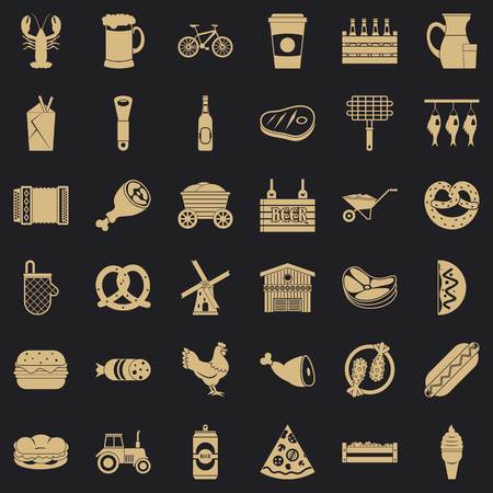 Delicacy icons set. Simple set of 36 delicacy vector icons for web for any design